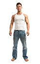 Full length of handsome young man over white standing background Royalty Free Stock Images