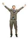 Full length happy bussinessman winning successfull on white back businessman celebrating success arms up Stock Photos