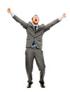 Full length happy bussinessman winning successfull on white back businessman celebrating success smiling Stock Images