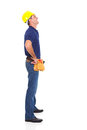 Full length happy repairman looking up isolated white background Stock Photo