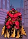 Superhero Sitting in City
