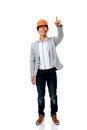 Full length portrait of asian engineer man point up isolated on white background Royalty Free Stock Image