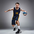 Full length portrait of a basketball player with ball Royalty Free Stock Photo