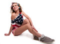 Full length portrait beautiful young funny american patriotic girl long slender legs wearing red shorts off shoulder usa flag top Stock Photos