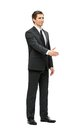 Full length portrait of business man handshake gesturing isolated on white concept leadership and cooperation Royalty Free Stock Photo