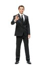 Full length portrait of business man ok gesturing isolated on white concept leadership and success Stock Image
