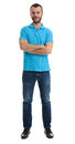 Full length portrait of casual guy with arms crossed Royalty Free Stock Photo