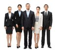 Full length portrait of group of managers isolated on white concept teamwork and cooperation Royalty Free Stock Photos