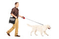 Full length portrait of a guy with shoulder bag walking a dog Stock Photography