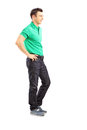 Full length portrait of a handsome casual man posing isolated on white background Stock Image