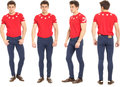 Full length portrait of handsome man in jeans isolated Royalty Free Stock Photo