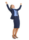 Full length portrait of happy business woman rejoicing success Royalty Free Stock Photo