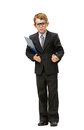Full length portrait of little businessman in glasses keeping folder isolated on white concept leadership and success Stock Image