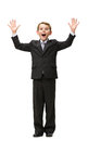 Full length portrait of little businessman with hands up isolated on white concept leadership and success Stock Images