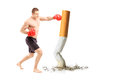Full length portrait of a male athlete with boxing gloves punch punching cigarette against white background Royalty Free Stock Photos