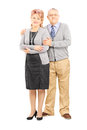 Full length portrait of a middle aged couple posing isolated on white background Stock Photo