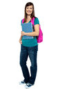 Full length portrait of pretty college girl Stock Image