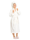 Full length portrait relaxed young woman bathrobe Royalty Free Stock Photo