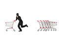 Full length portrait of a robber stealing an empty pushcart isolated on white background Stock Images