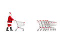 Full length portrait of a santa claus returning an empty shopping cart isolated on white background Stock Image