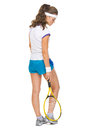 Full length portrait of serious tennis player female Stock Photo