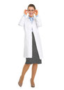 Full length portrait smiling oculist doctor woman eyeglasses Stock Photo