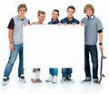 Full length portrait of students holding copyspace Royalty Free Stock Photos