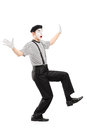 Full length portrait of a surpised mime artist gesturing with hands isolated on white background Stock Photography
