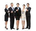 Full length portrait of thumbing up group of business people isolated on white concept teamwork and cooperation Stock Image