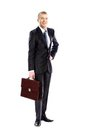 Full length portrait of young business man holding Royalty Free Stock Photography