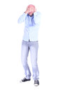 Full length portrait of young desperate man head in his hands Royalty Free Stock Photo