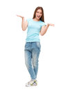 Full length portrait of young girl in casual clothing isolated Royalty Free Stock Photo