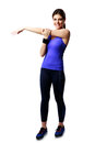 Full length portrait of a young sport woman stretching hands isolated on white background Stock Image