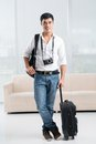 Full length portrait young traveler equipment Stock Image