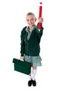 Full length shot of school girl with bag Royalty Free Stock Images