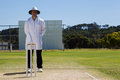 Full length of umpire standing behind stumps during cricket match Royalty Free Stock Photo
