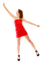 Full length woman in elegant red dress holding imaginary balloons and flying young teen girl raise her hand up invisible isolated Royalty Free Stock Images