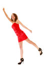 Full length woman in elegant red dress holding imaginary balloons and flying young teen girl raise her hand up invisible isolated Royalty Free Stock Image