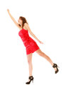 Full length woman in elegant red dress holding imaginary balloons and flying young teen girl raise her hand up invisible isolated Royalty Free Stock Photo