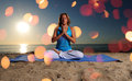 Full lotus yoga position and meditation Stock Photo