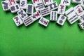 Full Of Mahjong Tiles On Green...