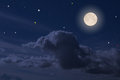 Full moon the on the beautiful night sky Stock Photography
