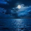 Full moon in clouds over sea Royalty Free Stock Photo