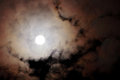 Full moon cloudy night view of a with sky background Royalty Free Stock Photos