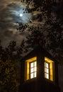 Full moon, dramatic night sky, lantern Royalty Free Stock Photo