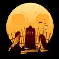 Full moon graveyard Royalty Free Stock Photo