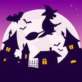 Full moon halloween night scene background with the bats and a witch flying over a little town eps file available Stock Photos