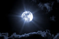 Full moon halloween type of a cloudy sky Royalty Free Stock Photo