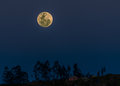 Full moon over the andes cuenca ecuador a as it rises above mountains near city of Royalty Free Stock Images