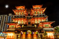 Full Moon Over Chinese Temple in Singapore Chinatown Royalty Free Stock Photo